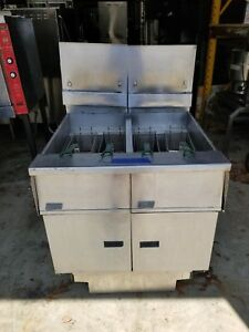 Pitco Frialator Natural Gas Heavy Duty Stainless Steel Double Fryer W Filter