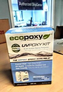 Ecopoxy Uvpoxy Clear Epoxy Uv Resin Table Top Coating Wood Tabletop 500ml Kit