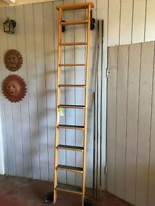 Cotterman Rolling Wood Library Ladder Antiques Books Home Library Step Ladder