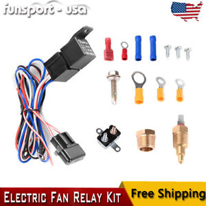 Universal Electric Radiator Cooling Fan Relay Kit Thermostat Temperature Switch