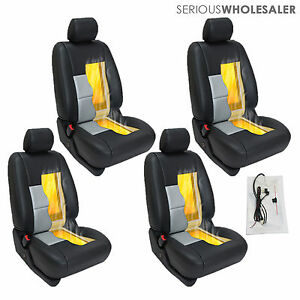 Carbon Fiber Universal Car Heated Seat Heater Kit Cushion Round Switch 4 Seats