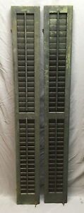 2 Tall Narrow Antique Window Wood Louvered Shutters 70x9 219 17e