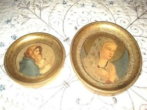 2 Antique Painted Tole Wood Italian Florentine Madonna Pictures Aged Patina