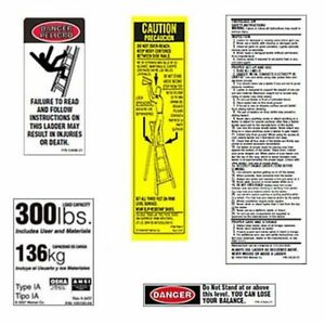 Werner Fiberglass Step Ladder Labels model Lfs100 300 6 Pack