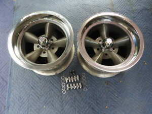 Vintage Pair15 X 8 5 American Torque Thrust Style Polished Lip Ford Mopar 4 1 2