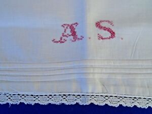 Antique Monogram Initial A S Turkey Red Embroidery Pillow Cover Metal Button