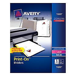 Avery r Print on tm Dividers 8 1 2in X 11in 3 hole Punched 5 tab White