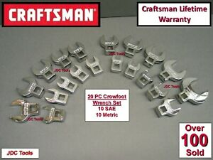 Craftsman 20 Pc Lot Full Polish Sae Metric Mm Crowfoot Wrench Set