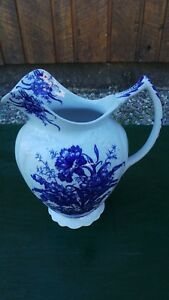 Beautiful Antique Ironstone White Blue Chamber Pitcher Carnation Dudson Wilcox