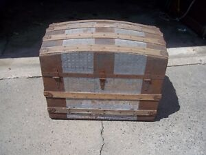 Antique 19th Century Victorian Dome Top Steamer Trunk Tin Wood