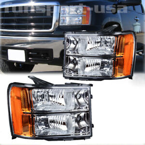 For 2007 2013 Gmc Sierra 1500 2500hd 3500hd Headlights Chrome Clear Replacement Fits More Than One Vehicle