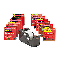 Scotch Transparent Tape W dispenser 3 4 X 1 000 Clear Pack Of 12 Rolls