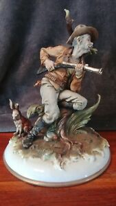 Rare Vintage Capodimonte Rabbit Hunt By Giecus The Hunter