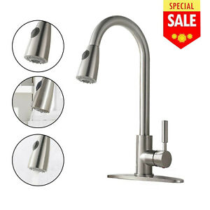 28inch Commercial Pre rinse Kitchen Sink Faucet Pull Down Sprayer Brushed Nickel