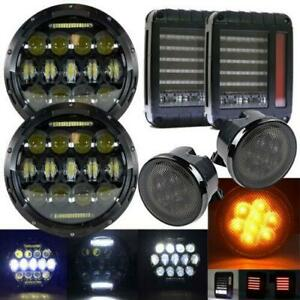 7 Led Headlights Amber Signal Turn Light 2x Tail Lights For Jeep Wrangler Jk
