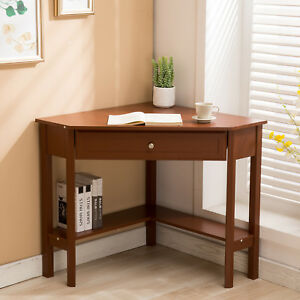 Corner Computer Desk Wood Writing Laptop Workstation Table Home Office Furniture