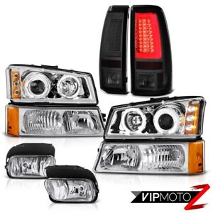 03 06 Chevy Silverado Smoked Taillamps Chrome Fog Lamps Parking Lamp Headlamps