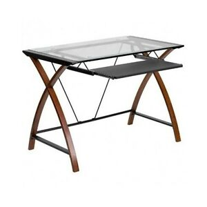 Computer Desk Home Office Glass Top Pc Laptop Table Furniture Workstation Modern