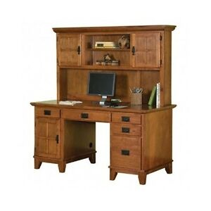 Desk With Hutch Double Pedestal Wood Home Office Computer Furniture Arts