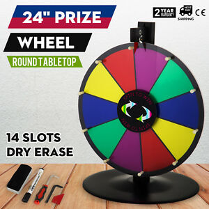 24 Round Tabletop Color Prize Wheel Spinnig Game Food Service Fortune 14 Slots