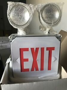 Mule Lighting Exit Sign For Wet Location Combo Red Lettering Battery Backup