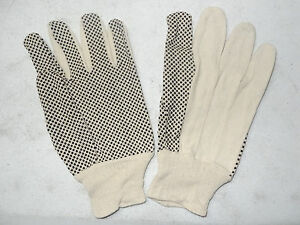 36 Qualiwell 468 Black Pvc Dotted Cotton Canvas Safety Work Gloves Large L