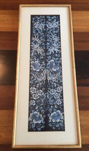 Antique Chinese Silk Embroidery Panel Blue Flowers Moth Framed
