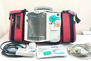 Philips Mrx Heartstart Aed Defib Pacer 3 Lead Ecg Cable Case Printer M3536a