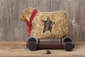 New Primitive Country Folk Art Fluffy Chenille Sheep Doll Cart Wheels Figurine