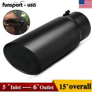 Bolt On Diesel Exhaust Tip 5 Inlet 6 Outlet 15inch Long Black Stainless Steel