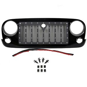 Jeep Wrangler 07 18 Jk Unlimited Matte Black Front Rivet Grille Grill Grid