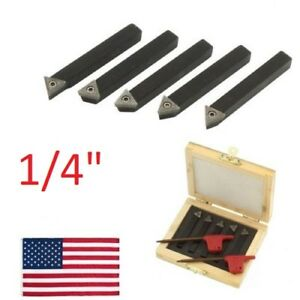 5 Pc 1 4 Indexable Carbide C6 Insert Tool Bit Holder Mini Lathe Set