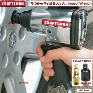 Craftsman 1 2 Drive Air Impact Wrench Classic Metal With Adapters 2 Tools In 1