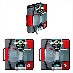Case it Dual 2 in 1 Zipper D ring Binder 2 Sets Of 1 5 inch Rings Red Dual 10