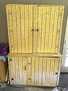 Charming Antique Vintage Tongue And Groove Pine Stepback Step Back Cupboard