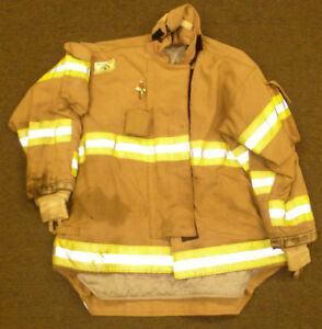 52x31 Firefighter Jacket Coat Bunker Turn Out Gear Brown Morning Pride J566