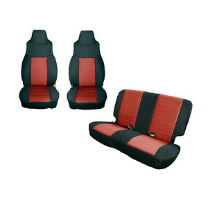 Front And Rear Black Red Seat Covers For Jeep Wrangler Tj 1997 2002 13292 53