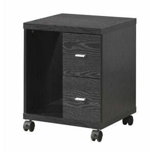 Home Office Black Wooden Cpu Stand File Cabinet W 2 Storage Drawers Casters