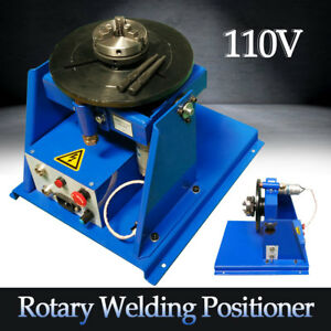 110v Rotary Welding Positioner Turntable Table 2 5 3 Jaw Lathe Chuck 2 20rpm