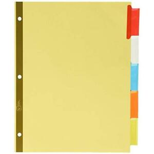 Big Tab Binder Index Dividers Insertable Dividers Buff Paper 5 Multicolor Case