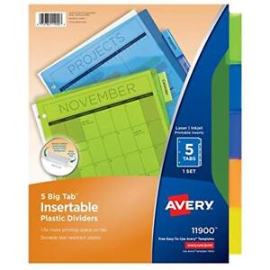 Big Tab Binder Index Dividers Insertable Plastic Dividers 5 Multicolor Tabs Of