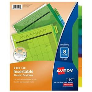 Big Tab Binder Index Dividers Insertable Plastic Dividers 8 Multicolor Tabs Of