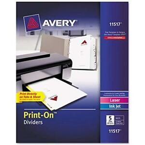 Print on Dividers Binder Index Dividers White 5 Tabs 25 Sets 11517