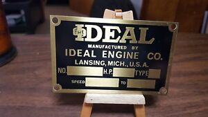 Ideal Original Gas Engine Company Data Plate Tag Hit And Miss Lansing Michigan
