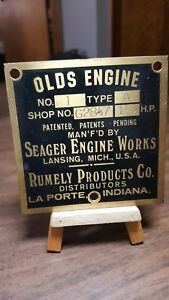 Olds Engine Hit And Miss Gas Mfg Seager Engine Works Rumley Products Data Plate