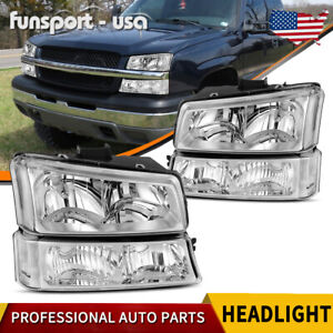 4pcs For 2003 2006 Chevy Silverado Chrome Housing Clear Side Headlight Lamp Set