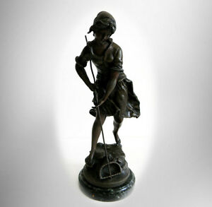 Auguste Moreau Bronze Statue Of Young Peasant Girl France