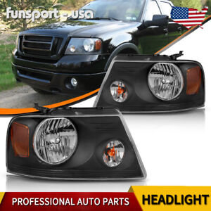 Headlights For 2004 2008 Ford F 150 F150 Pickup Black Housing Amber Corner Pair
