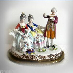 Dresden Figural Porcelain Group On Metal Base Victorian Scene
