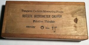 Antique Vintage Fowler 0 1 Micrometer W Wood Box Guide Inspection Card